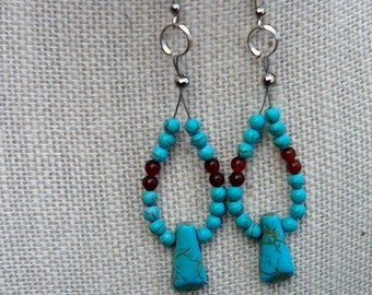 Dangling Turquoise and Agate Earrings