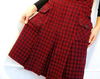 Red tartan skirt size Small plaid wool skirt midi high waisted midi skirt pleated skirt wool winter wool skirt vintage 1980s