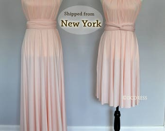 Blush bridesmaids dress, fits as maternity dressperfectly,  infinity dress, convertible dress, maternity gown, party dress, prom dress, maxi