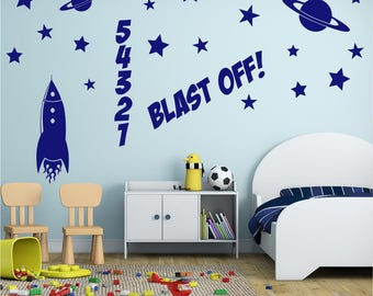 ROCKET 32 Piece Blast Off Space Planet Set Boys Childrens Bedroom Playroom Nursery Vinyl Wall Art Sticker Decal Transfer *20 colours*