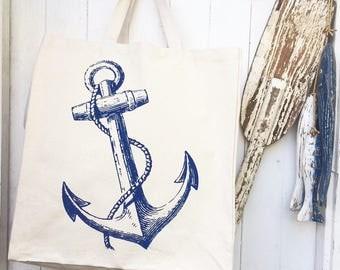 Hand Screen Printed Anchor Cotton Canvas Tote Bag Shoulder Bag Beach Bag Grocery Bag Natural Reusable