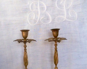 Candle holders/candlesticks old gilt bronze numbered