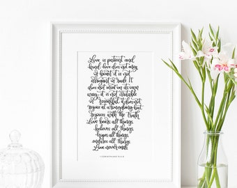 Christian Gifts | Christian Wall Art | Love is Patient | Wedding Gift | Engagement Gift | Wall Art | Print | Make Today Beautiful