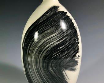 Porcelain bottle with black underglaze