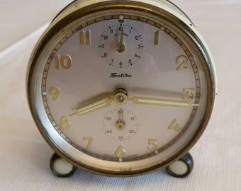 rare antique solida travel alarm clock 1950 's made in germany - desk table nightstand vintage timepiece mantel retro bedroom german glow