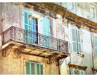 French Quarter photography, New Orleans, Louisiana, NOLA art print French Quarter wall art, iron balcony, shabby chic, historic architecture