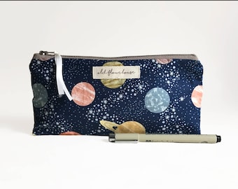 Space Pencil Case, Planet Zipper Pouch, Solar System Small Makeup Bag, Make Up Brush Holder, Cosmetics Bag, Bag Organiser, Old Flour House