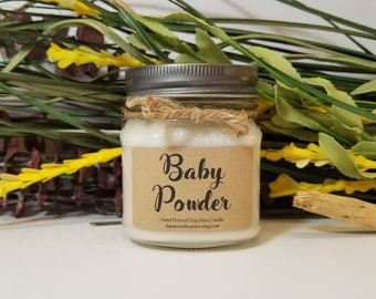 8oz Baby Powder Scented Candle - Soy Candles Handmade - Mason Jar Candles - New Baby Gift - Baby Shower Favors - Homemade Candles