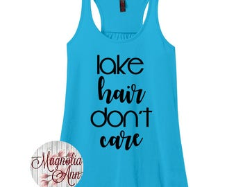 Lake Hair Don't Care, Summer, Women's Racerback Tank Top in 9 Colors in Sizes Small-4X, Plus Size