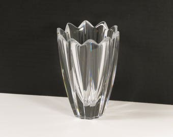 Signed Orrefors Fluted Lead Crystal Fleur Vase Designed by Jan Johansson from Sweden