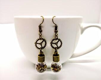 Steampunk Earrings Bottles with Cogs/Gears Watch/Clock Parts Jewellery