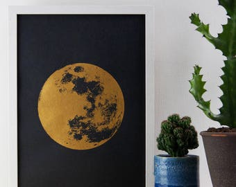 Moon Print, Gold Print, Realistic Moon, Boho, Bohemian, Poster, A3 Art Print, Prints, Screenprint, Gift Idea, Print