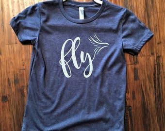 Girl's Fly shirt, Girls glittery shirt, Cute girls shirt, Soft girls shirt