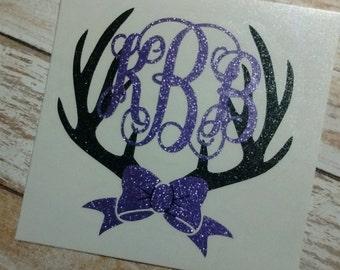 Deer Antler Decal/Deer Antler Monogram/Monogram/Vinyl Decal/ Deer Monogram/Hunting Sticker/Yeti Cup Decal/Deer Antler Sticker/HTV Decal