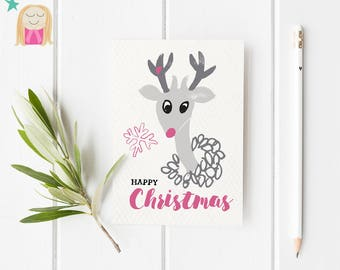 Christmas Cards, Xmas Cards, Greeting Card, Deer, Christmas Illustration, Holiday Card, Hygge Christmas, Pretty Card, Scandi christmas