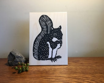 Limited Edition Screenprinted Wall Plaque : Squirrel