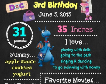 Doc McStuffins Birthday Chalkboard Poster - Disney Wall Art design - Birthday Poster Sign - Any Age