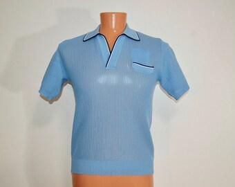 1970s Vintage Oleg Cassini Baby Blue Polo for Men Size Medium