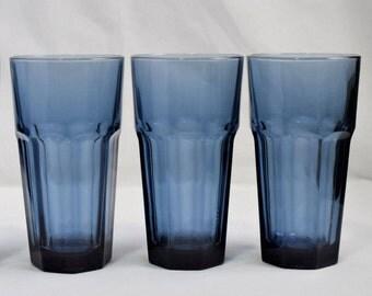 Vintage set of 3 Libbey Duratuff blue-tinted tumblers