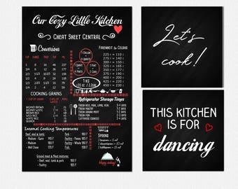 Kitchen Cheat Sheet Chalkboard - 12x18, Set of 3, kitchen wall art, kitchen decor, kitchen chalkboard, kitchen conversions, conversion chart