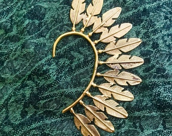 Brass Tribal Feather Ear Cuff