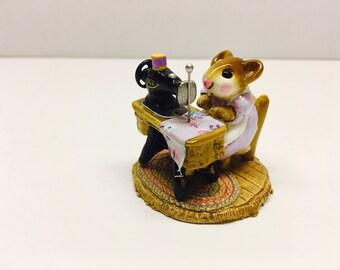 Vintage Wee Forest Folk 'Miss Bobbin' Miniature Mouse