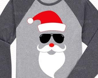 Santa with sunglasses SVG, Santa Face svg,Santa svg,Santa Hat svg, Christmas svg for boys, Christmas svg for girls,Winter svg,Christmas svg,