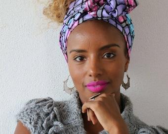 Headwrap Lilac Pink Blue - JANELLE