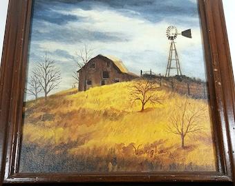 FRAMED ORIGINAL PAINTING Rural Landscape w Rustic Barn & Windmill Winter Sky 12x11 Vintage Framed Art Farm Landscape Painting Original Art