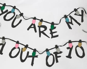 Stranger Things 11 out of 10 Banner, Valentines decor gift, Paper Garland, Alternative Wedding Decoration, Anniversary Gift