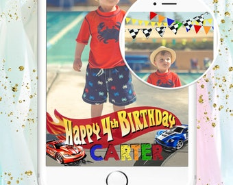 Hot Wheels Inspired Snapchat Filter - Happy Birthday with Custom Name & Age -Checkered Flag, Flames, Cars, Racecars, Boy Birthday Party