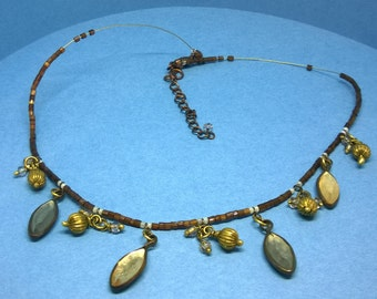 Vintage / retro bronze colour beaded necklace with plastic crystal drops