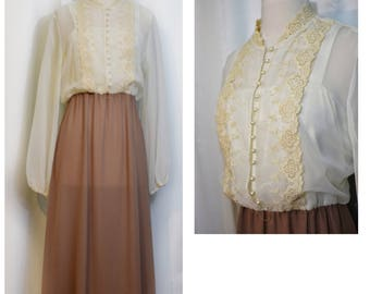 Ivory/Mocha and Lace 70s Does Victorian Dress