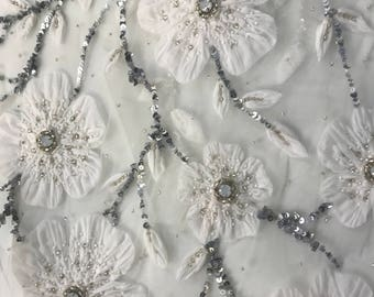 Stunning Handmade Tulle Appliqué Fabric with Beads, Sequins and Stones--4 yards