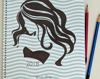 2018 Hairstylist Day Planner | Silhouette Waves | Weekly | 13 months Jan 18 - Jan 19 | Appointment Book | Scheduling | Salon | Dated | Gift