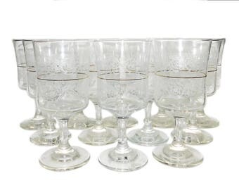 Vintage 12pc Etched Glass Red Wine Stemware Set