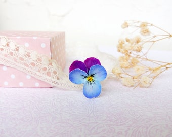 Pansy ring violet ring Real flower ring Floral ring Blue purple Pansy floral jewelry Every day For girl For woman Polymer Clay flower