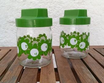 White flowers and green years 70 Henkel glass jars vintage