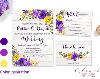Purple Floral Wedding Invitation Suite Printable Boho Purple Yellow Spring Wedding Invite Set Digital Summer Wedding Invite - WS001