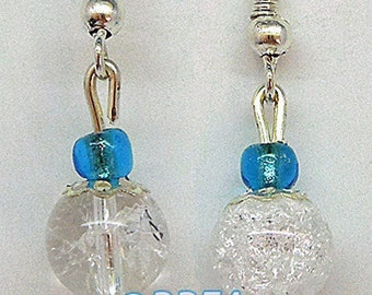 Earrings burst rock crystal and Pearl whims.
