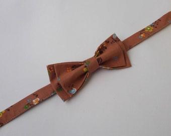Pre tied bow tie + pocket square Wedding set Pocket square Boho bow tie Flowers bow tie Wedding bow tie Cotton bow tie Wedding photo props