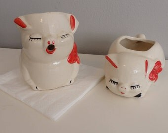 Vintage 40s Pottery Pigs Creamer and Sugar Bowl Set 1940s  Farm house