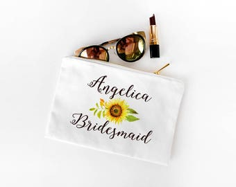 Sunflower Wedding Bridesmaid Gift - Personalized Makeup Bag - Watercolor Makeup Bag Zipper Pouch, Bridesmaid Cosmetic Bag, Maid of Honor Bag
