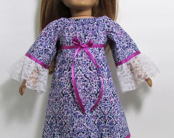 """18"""" Doll Clothes fit American Girl  Gypsy Boho Style Bohemian Lacy Peasant Maxi Dress AMEYTHST DAMASK"""