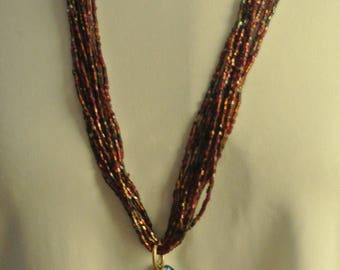 Multi-strand Bugle/Seed Beads Necklace with a Multi-Color Pendant