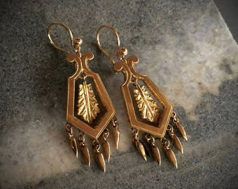 VICTORIAN Antique 14K Gold Filled Chandelier Earrings / Beautifully Made in Excellent Condition / OOAK