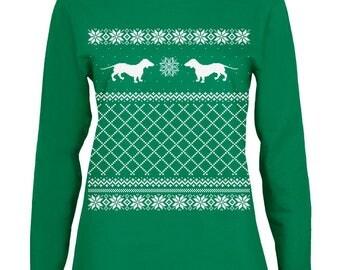 Dachshund Ugly Christmas Sweater Green Womens Long Sleeve T-Shirt