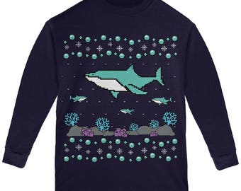 Ugly Christmas Sweater Shark Coral Reef Youth Long Sleeve T Shirt