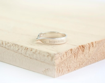 Yanaba Nothing is Impossible Ring, Sterling Silver, Engraved Ring, Silver Ring, Inspirational Ring, Motivational Ring, Inspire and Motivate,