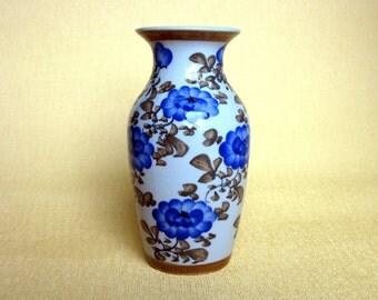 """Vintage Hand Painted Ceramic Vase / 6 """" / Blue & White Vase / Blue Vase / Green / Olive / Asian / Glazed / Vintage Pottery Vase / Floral"""